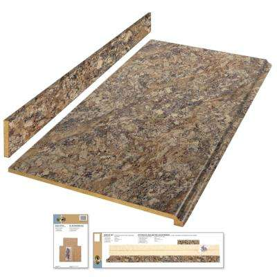 8 ft. Laminate Countertop Kit in Winter Carnival with Premium Quarry Finish and Valencia Edge