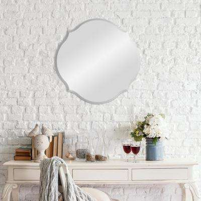 Beveled Scalloped Octagon Silver Wall Mirror