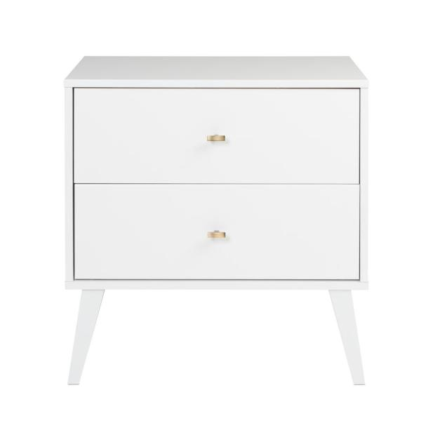 Prepac Milo Mid Century Modern 2 Drawer White Nightstand Wdnr 1402 1 The Home Depot