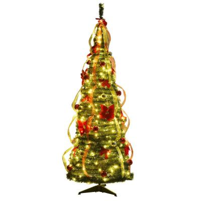 6 ft. Green Pre-Lit LED Pop-Up Artificial Christmas Tree with 250 Warm White Lights, Bows, Balls and Ribbon