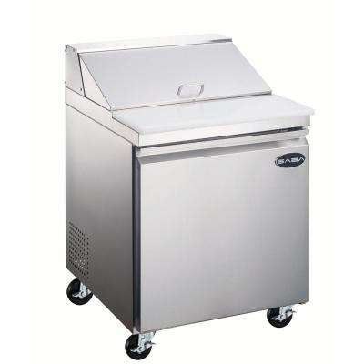 27.5 in. W 5.7 cu. ft. Commercial Food Prep Table Refrigerator Cooler in Stainless Steel