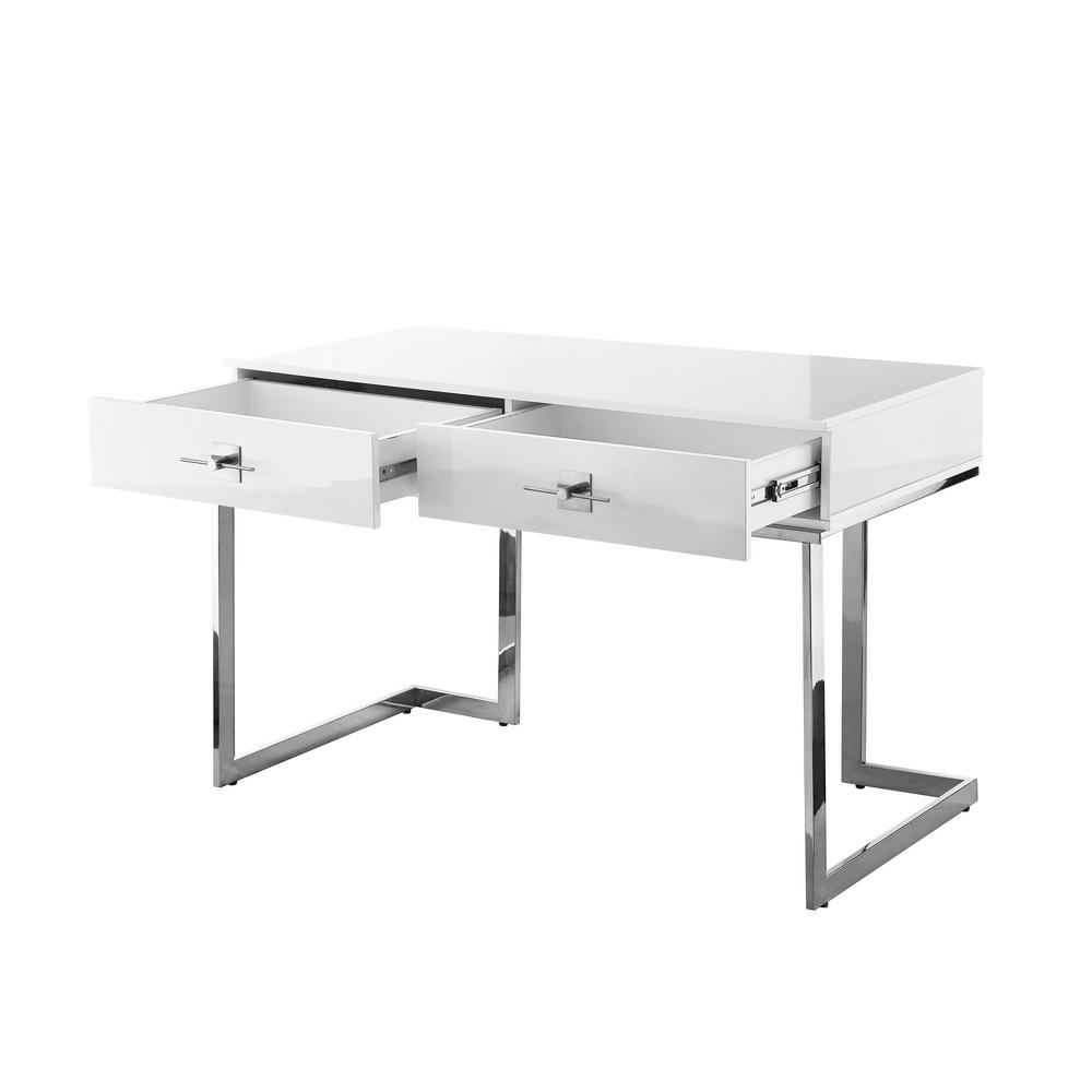 Nicole Miller 23 6 In Rectangular White Chrome 2 Drawer Executive Desks With Steel Frame Ndk197 09we Hd The Home Depot