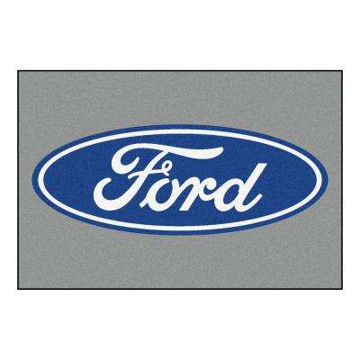 Ford Oval Gray 5 ft. x 8 ft. Indoor Area Rug