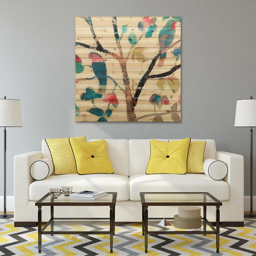 "40 in. x 40 in. ""Woodland Story 1"" Arte de Legno Digital Print on Solid Wood Wall Art"