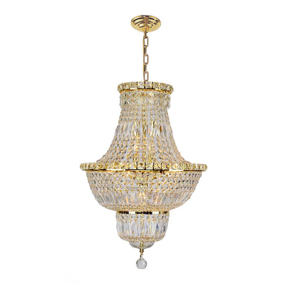 Worldwide Lighting Empire Collection 12-Light Polished Gold Crystal Chandelier