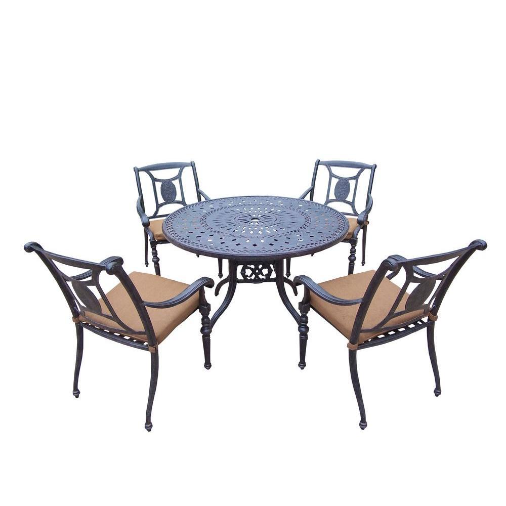 Cast Aluminum 5-Piece Round Patio Dining Set with Sunbrella Cushions