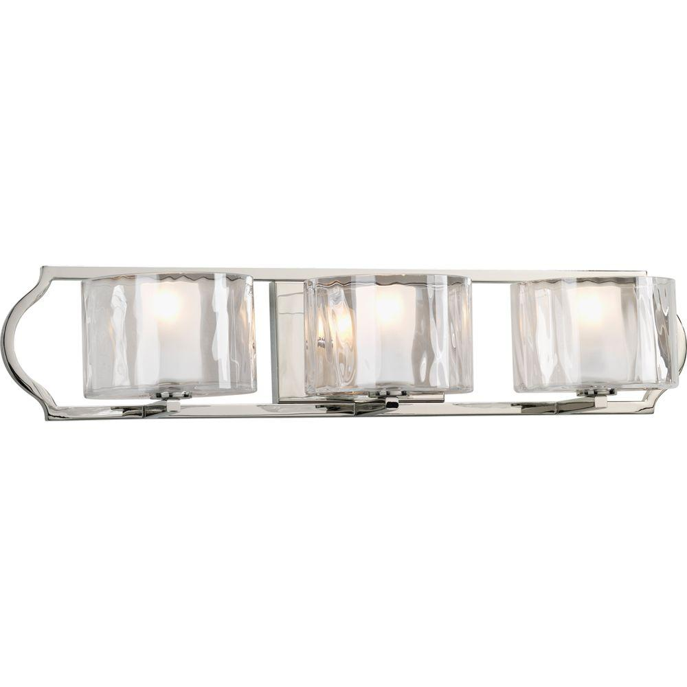 Polished Nickel Bathroom Vanity Light: Progress Lighting Caress Collection 3-Light Polished