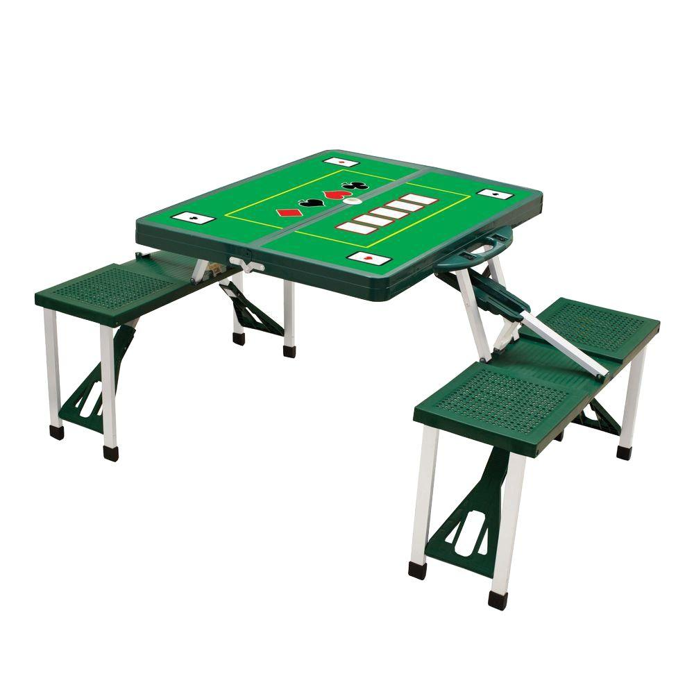 Hunter Green Sport Compact Patio Folding Picnic Table with Poker Pattern