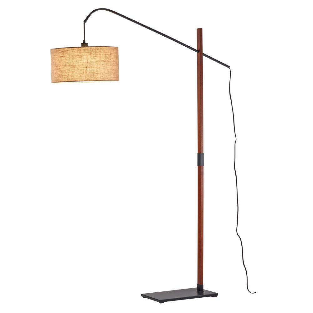 Adesso Bryce 71 in. Walnut Floor Lamp