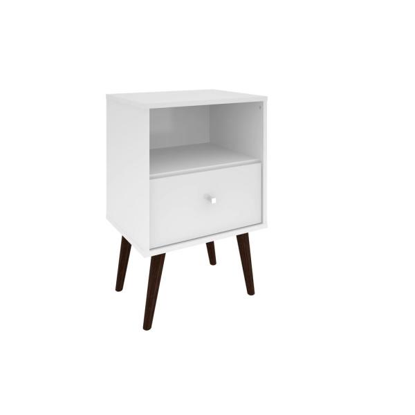 Manhattan Comfort Liberty Mid Century White Modern Nightstand 1.0 with 1-Cubby