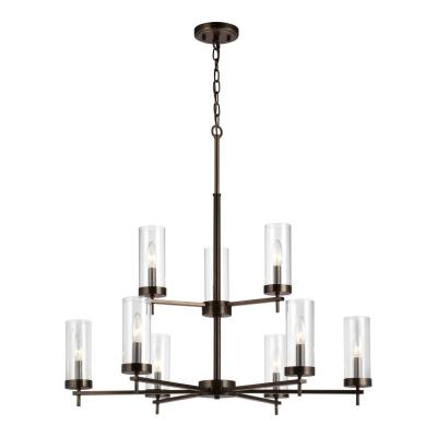 Zire 9-Light Brushed Oil Rubbed Bronze Chandelier with Clear Glass Shades