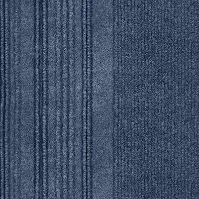 First Impressions Barcode Rib Denim Texture 24 in. x 24 in. Carpet Tile (15 Tiles/60 sq. ft./case)