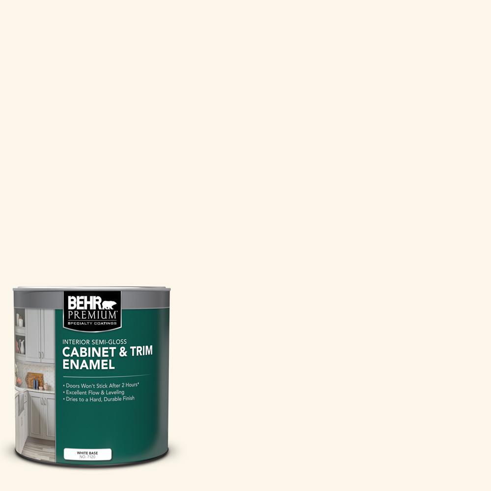 BEHR PREMIUM 1 qt. #OR-W15 Sleek White Semi-Gloss Enamel Interior Cabinet and Trim Paint