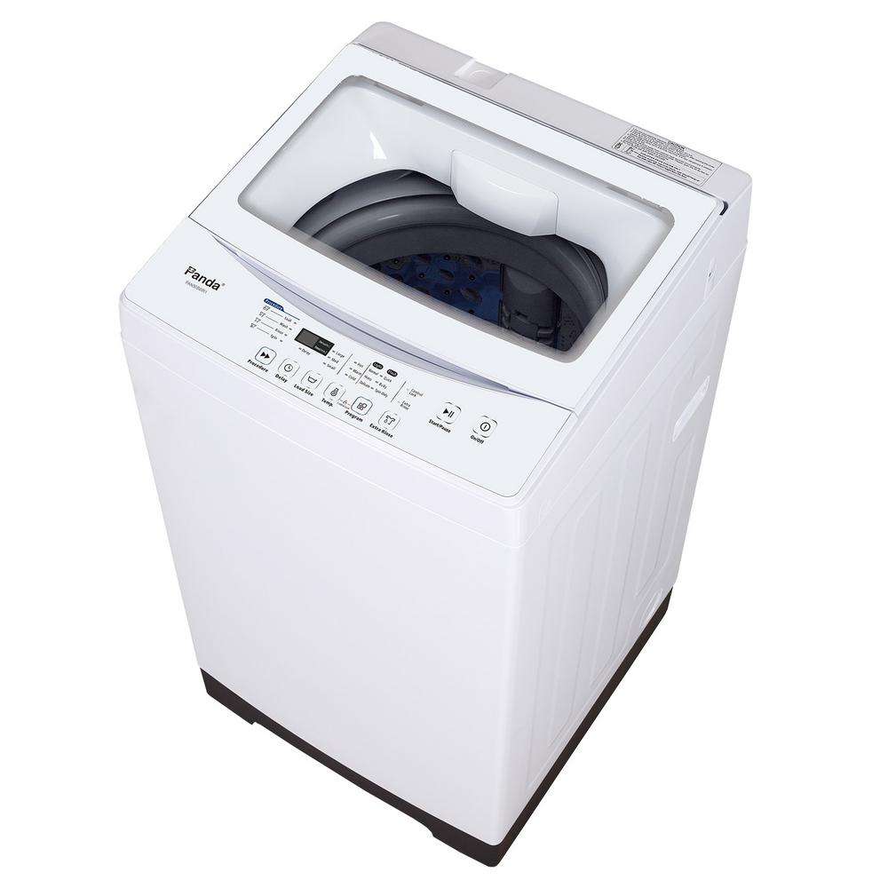 White Compact Top Load Washer With Stainless Steel Tub