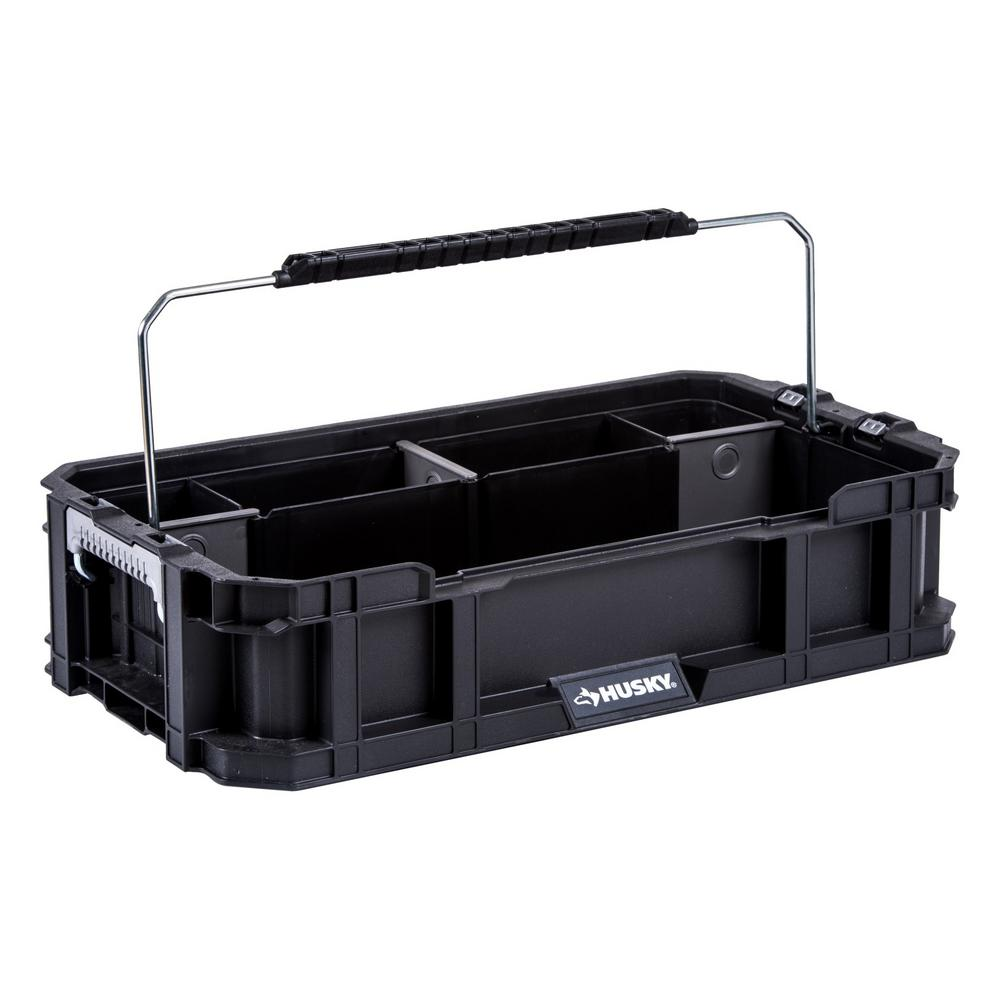 Husky 5-Compartment Connect System Tool Caddy Small Parts Organizer in Black