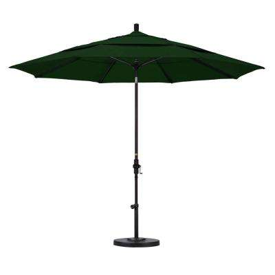 11 ft. Fiberglass Collar Tilt Double Vented Patio Umbrella in Hunter Green Pacifica