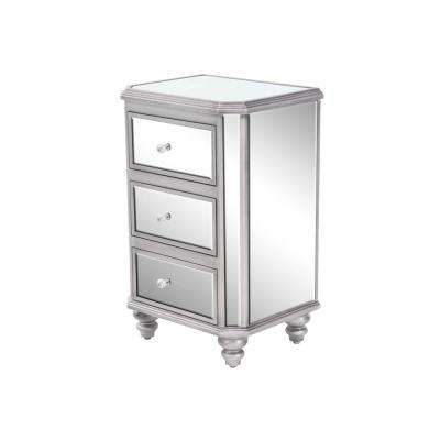 3-Drawer Mirrored Side Chest