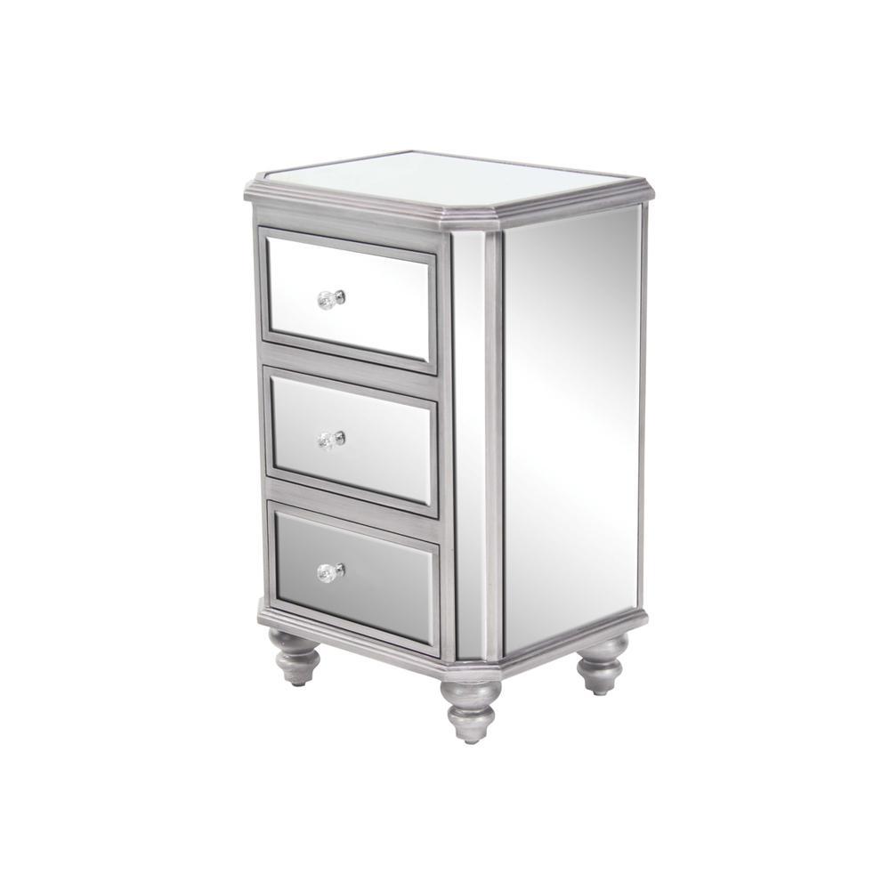 Litton Lane 3-Drawer Mirrored Side Chest 58758