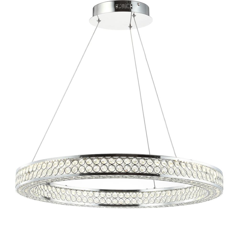 Benton 36 Watt Chrome/Clear Integrated Led Chandelier by Home Depot