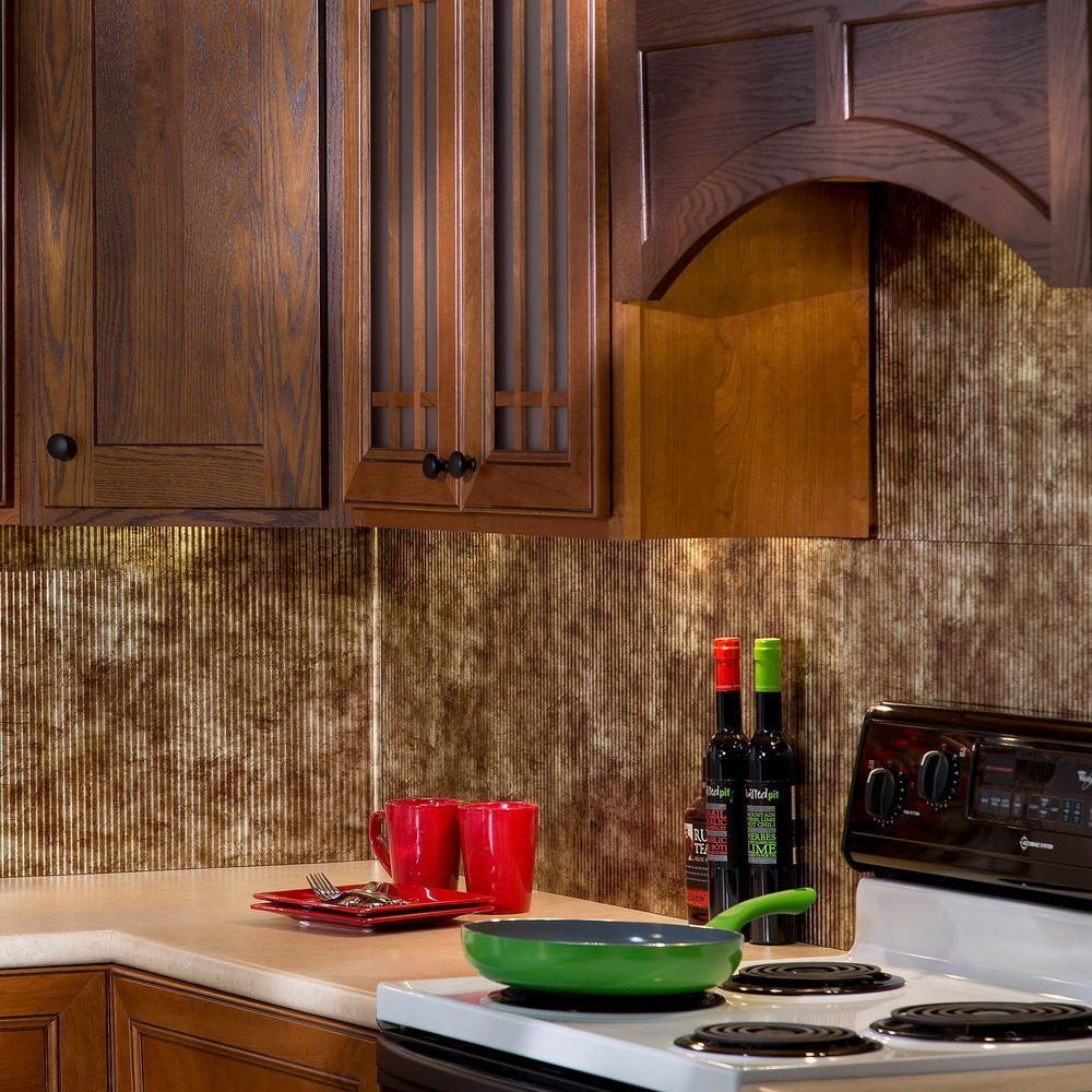 24 in. x 18 in. Rib PVC Decorative Backsplash Panel in
