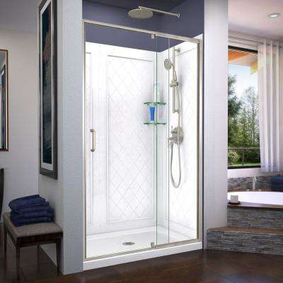 Flex 48 in. x 72 in. Semi-Frameless Pivot Shower Door in Brushed Nickel with 48 in. x 36 in. Base and Wall in White