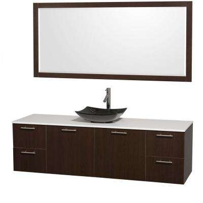 Amare 72 in. Vanity in Espresso with Solid-Surface Vanity Top in White, Granite Sink and 70 in. Mirror