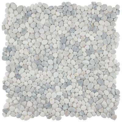 Pebblini White Smoke 12-1/4 in. x 12-1/4 in. x 7 mm Pebble Stone Mosaic Tile