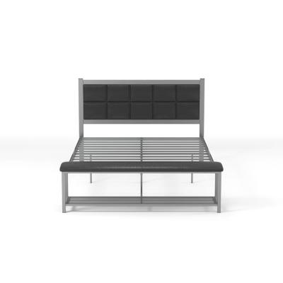 Karina Black and Silver Full Metal Platform Bed with Attached Bench