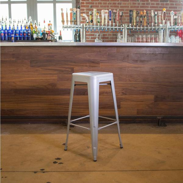 Loft Style 30 in. Stackable Metal Bar Stool in Silver