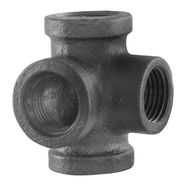 1/2 in. 4-Way Black Iron Side Outlet Tee