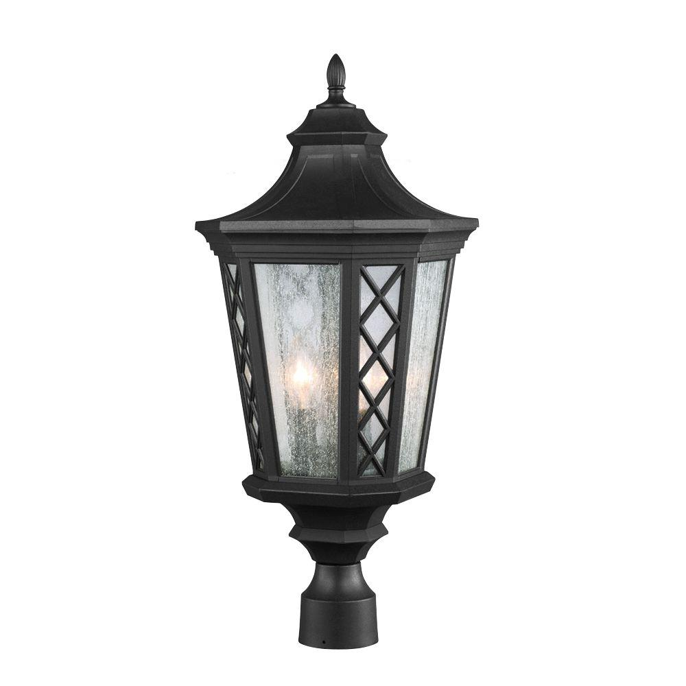 Feiss Wembley Park 3-Light Textured Black Outdoor Post Lantern