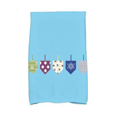 16 in. x 25 in. Light Blue Doodled Dreidels Holiday Geometric Print Kitchen Towel