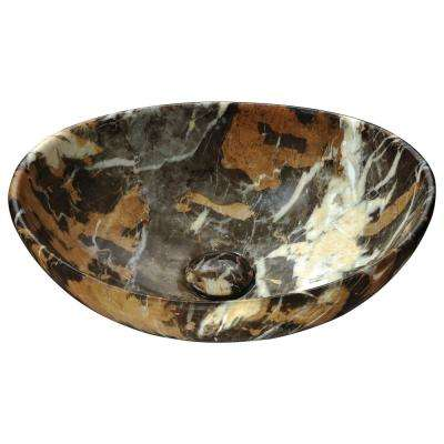 Sona Series Ceramic Vessel Sink in Marbled Adobe