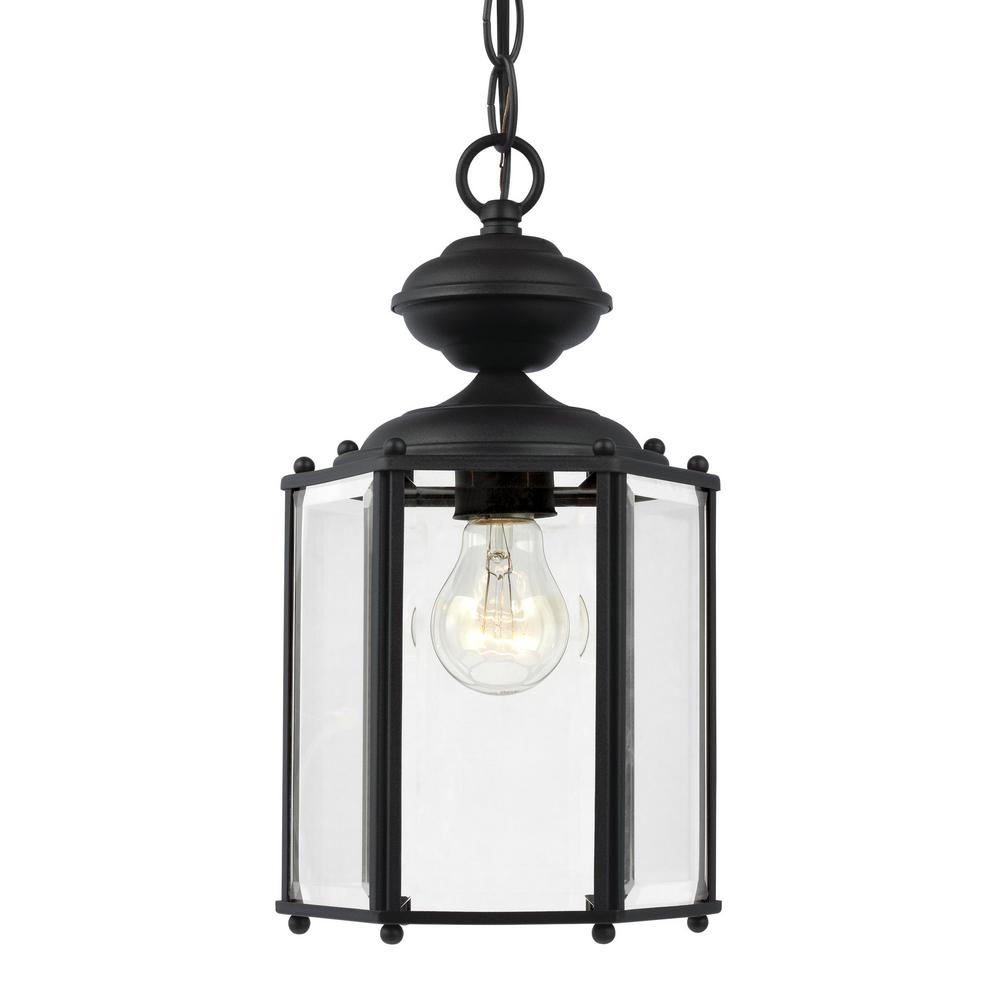 Home decorators collection 1 light black outdoor pendant c2374 the classico 1 light black outdoor pendant with clear beveled glass aloadofball Image collections