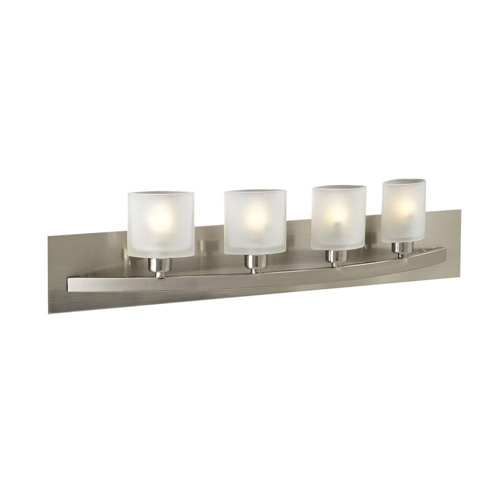 Contemporary Beauty 4-Light Satin Nickel Halogen Bath Vanity Light