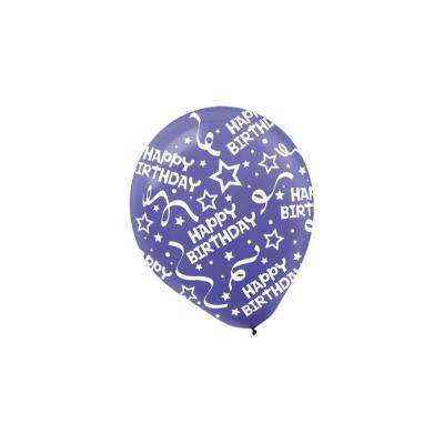 12 in. New Purple Birthday Confetti Latex Balloons (6-Count, 9-Pack)