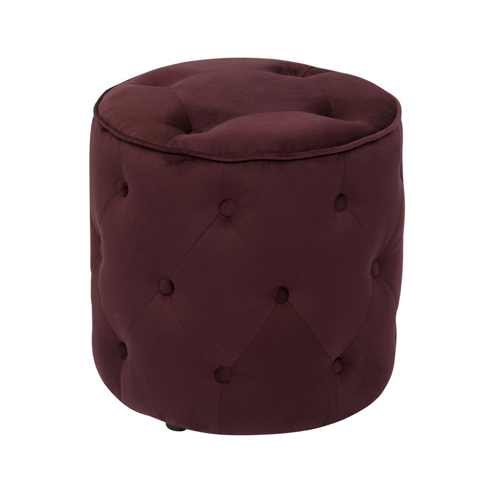 Curves Tufted Round Ottoman in Port Velvet with Solid Wood Legs