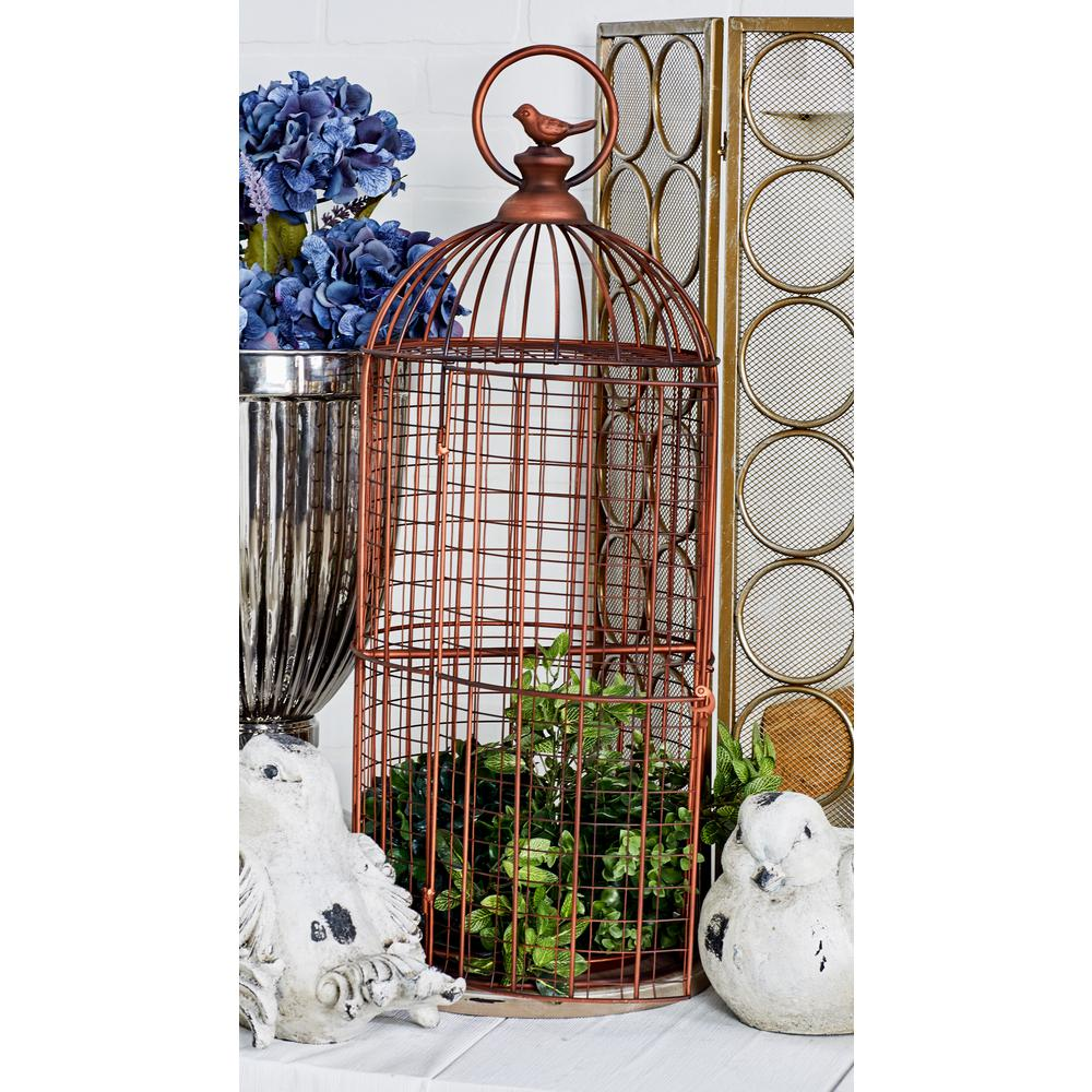 Bronze MDF and Iron Bird Cage with a Round Handle