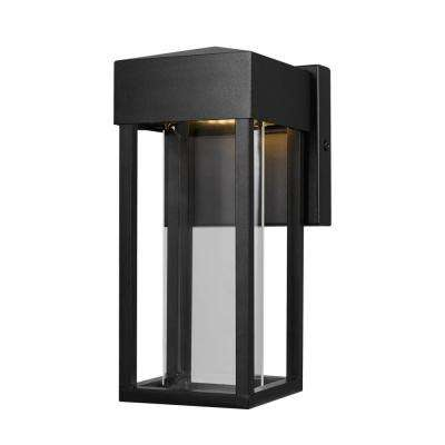electric outdoor lights led bowie 10watt matte black outdoor integrated led wall mount sconce globe electric lighting the home depot