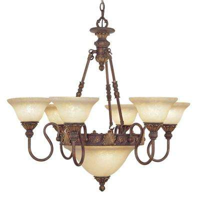 8-Light Crackled Greek Bronze Incandescent Ceiling Chandelier with Aged Gold Accents