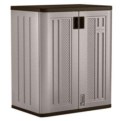 36 in. H x 30 in. W x 20.25 in. D 2-Shelf Resin Base Storage Freestanding Cabinet in Platinum