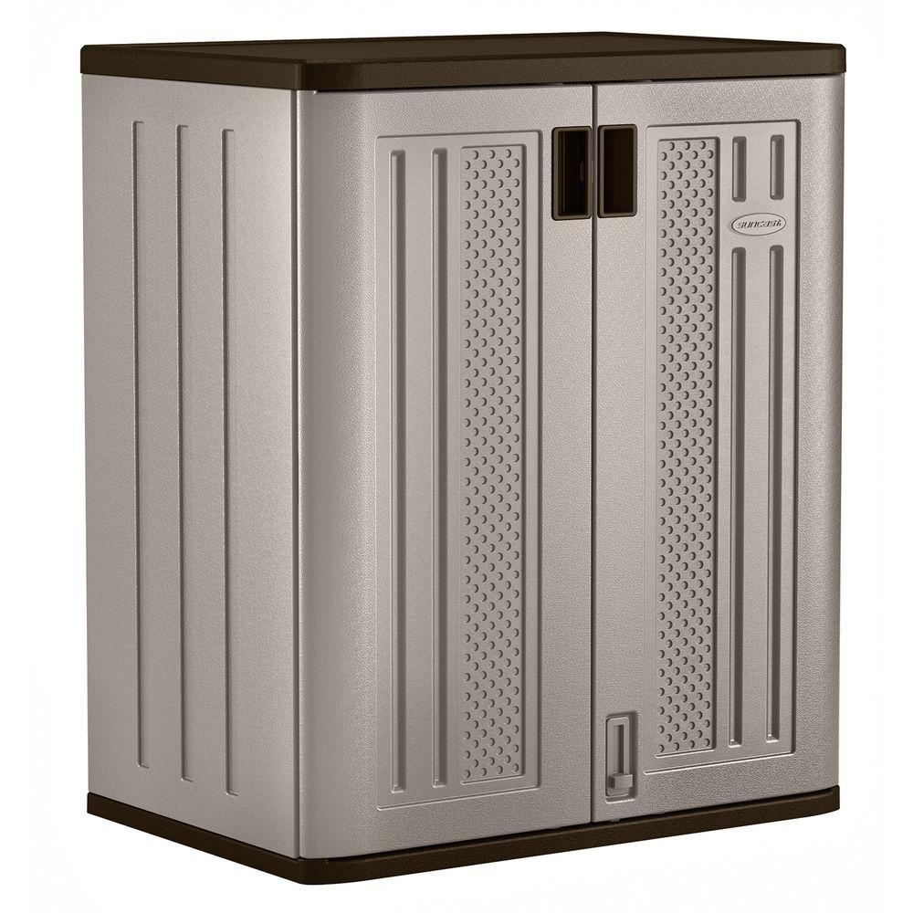 36 in. H x 30 in. W x 20.25 in. D 2-Shelf Resin Base Storage Freestanding Cabinet in Platinum