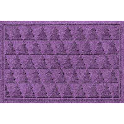 Aqua Shield Pine Trees Purple 17.5 in. x 26.5 in. Door Mat