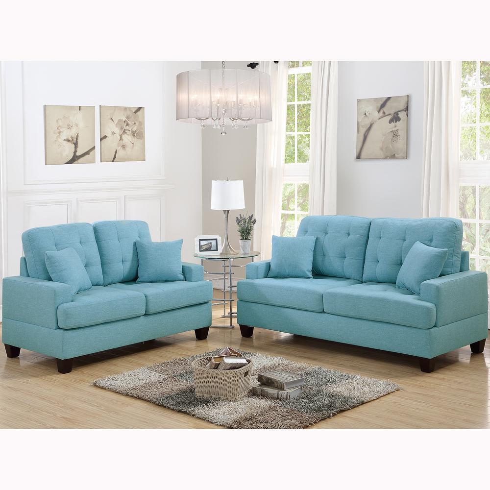 Basilicata 2-Piece Blue Sofa Set