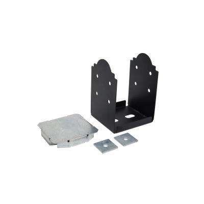 Outdoor Accents 8 in. x 8 in. Rough Z-MAX Galvanized Steel Black Powder-Coat Post Base