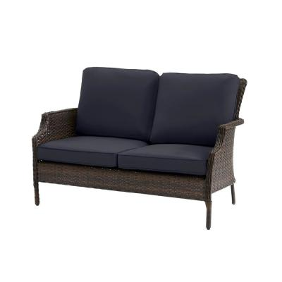 Grayson Brown Wicker Outdoor Patio Loveseat with CushionGuard Midnight Navy Blue Cushions