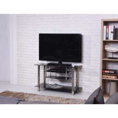 39 in. Wide Black Tempered Glass TV Stand