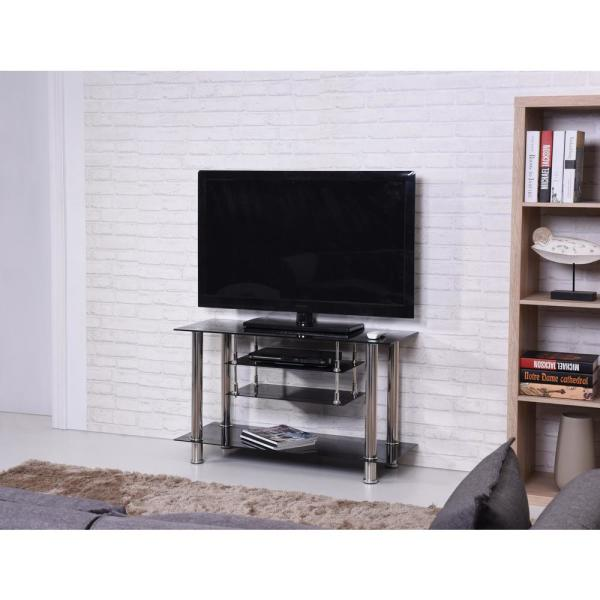 Hodedah 39 In Wide Black Tempered Glass Tv Stand Hitv51 The Home