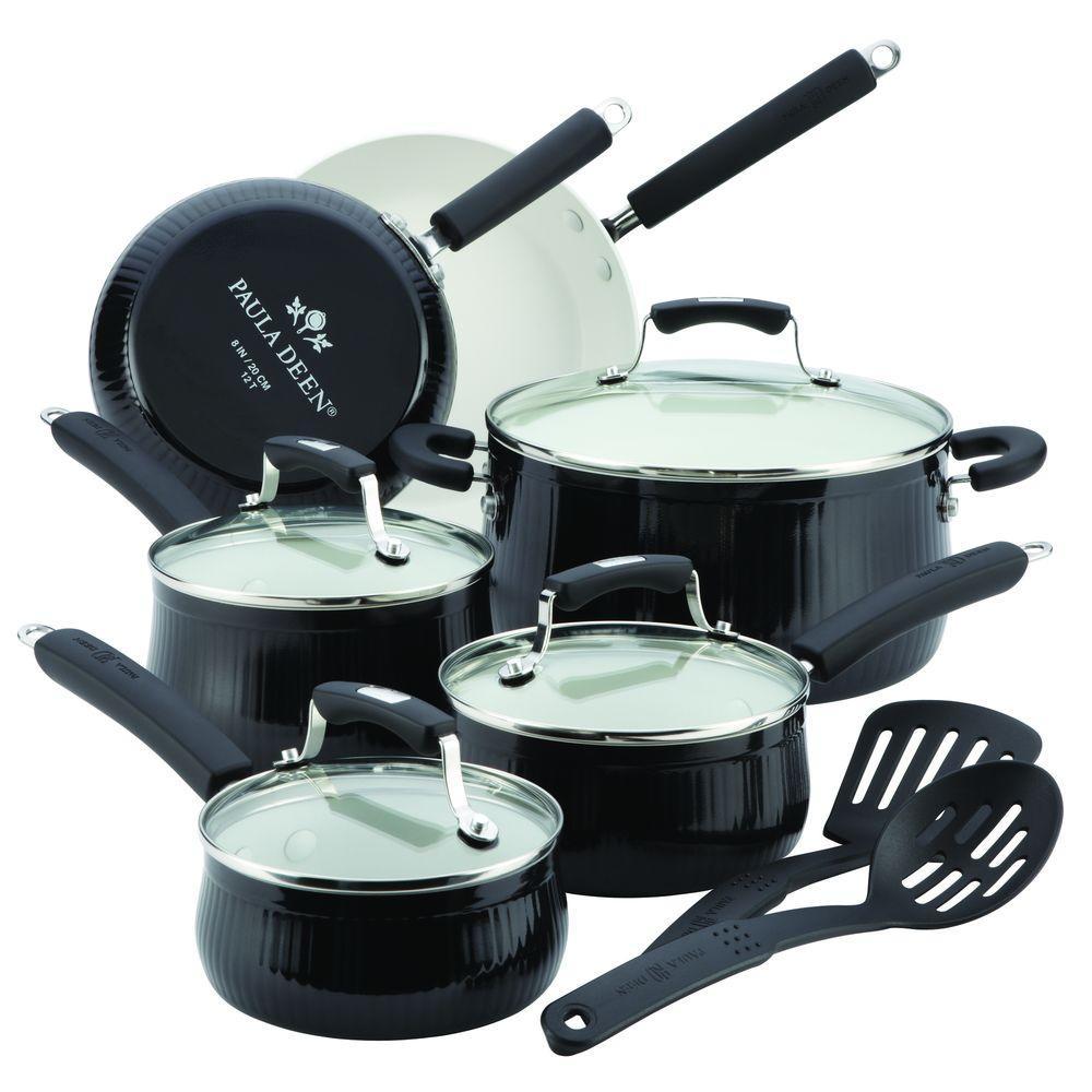 Paula Deen Savannah 12-Piece Black Cookware Set with Lids