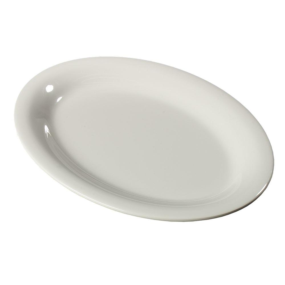 9.5 in. x 7 in. Melamine Small Oval Platter in Bone